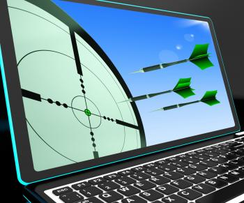 Arrows Aiming On Laptop Shows Perfect Strategies