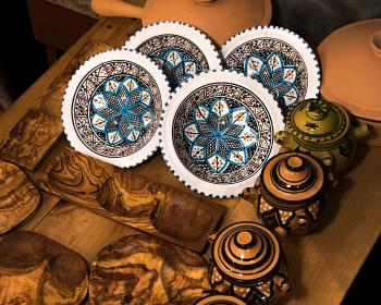 Art Photography of Decorative Plates and Pots With Lids