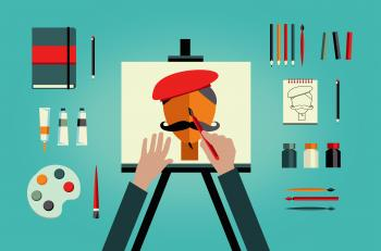 Artist painter painting self-portrait - art and creativity concept