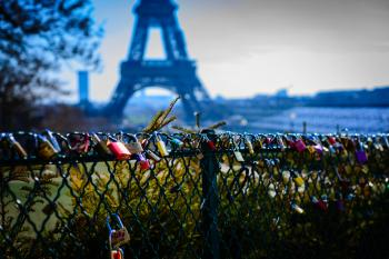 Assorted-color Padlocks Near Eiffel Tower in Paris France