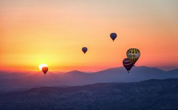 Assorted Hot Air Balloons Photo during Sunset
