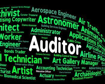 Auditor Job Represents Auditing Word And Inspectors
