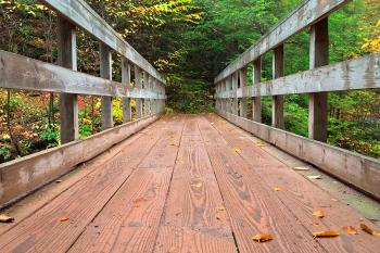 Autumn Boardwalk Bridge - HDR