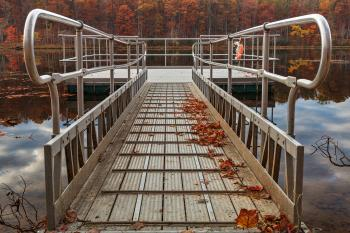 Autumn Lake Boardwalk - HDR