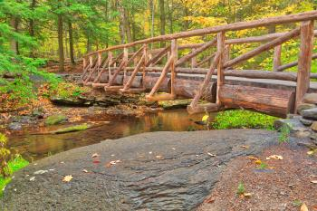 Autumn Log Bridge - HDR