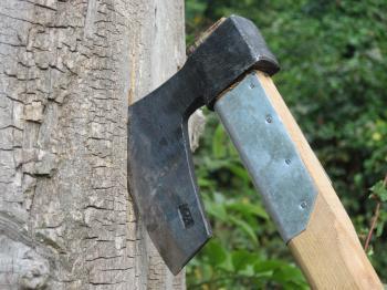 Axe on a tree