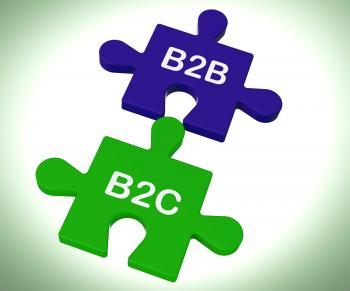 B2B And B2C Puzzle Shows Corporate Partnership Or Consumer Relations