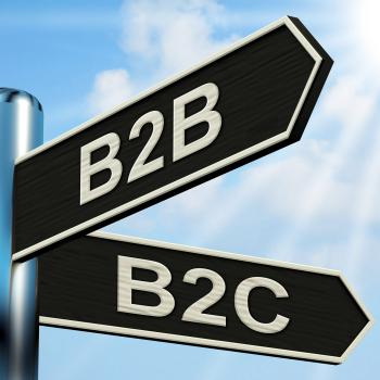B2B B2C Signpost Means Business Partnership And Relationship With Cons