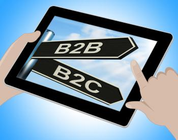 B2B B2C Tablet Means Business Partnership And Relationship With Consum