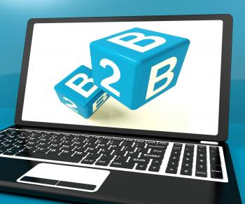B2b Dice On Laptop Computer Shows Business And Commerce