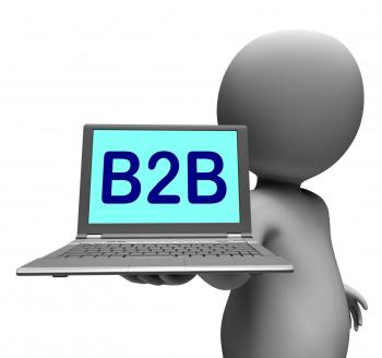 B2b Laptop Character Shows Business Trading And Commerce Online