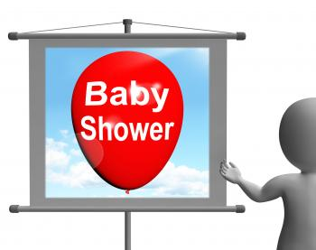 Baby Shower Sign Shows Cheerful Festivities and Parties