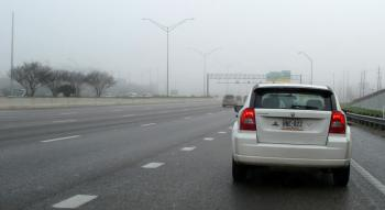 Backed Up Exit Lane, in the Fog