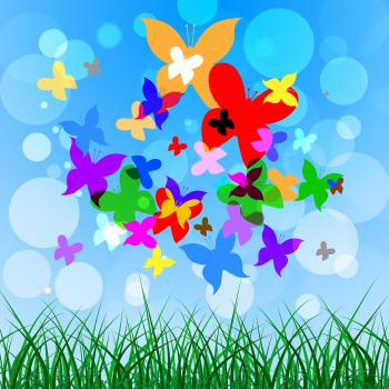 Background Butterflies Represents Summer Time And Creature