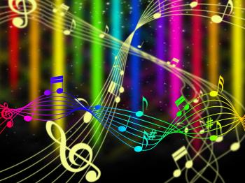 Background Color Shows Music Note And Acoustic