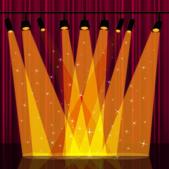 Background Spotlight Indicates Stage Lights And Backdrop