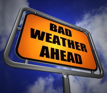 Bad Weather Ahead Signpost Shows Dangerous Prediction