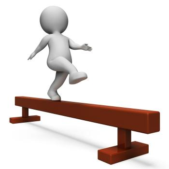Balance Beam Means Getting Fit And Agility 3d Rendering