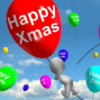 Balloons Floating In The Sky With Happy Xmas Message
