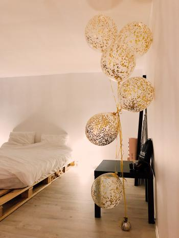 Balloons Near White Bedspread Set