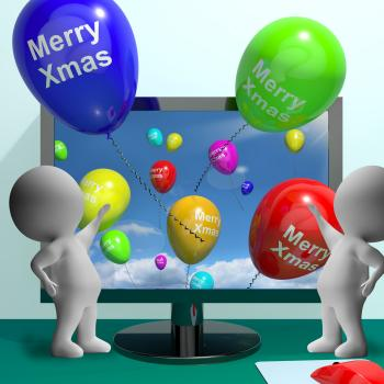 Balloons With Happy Xmas Showing Online Greeting