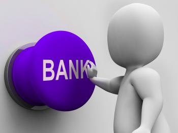 Bank Button Means Transactions Savings And Interest