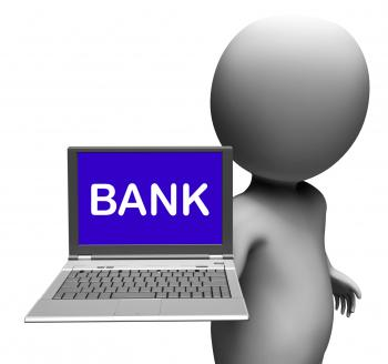 Bank Laptop Shows Internet Payments Or Electronic Banking Online