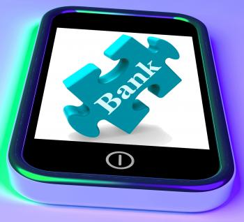 Bank Phone Shows Online Or Electronic Banking Transactions