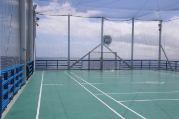 Basketball court on the ship