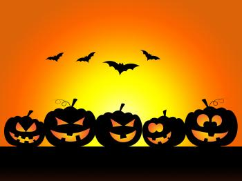Bats Halloween Indicates Trick Or Treat And Celebration