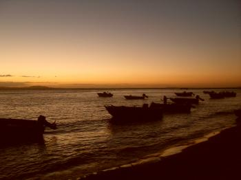 Beach, sunset and Boats