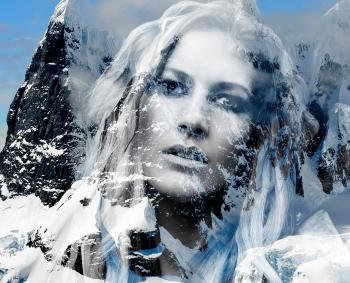 Beautiful lady in the mountains - Double exposure effect