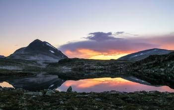 Beautiful Sunset in the Norwegian Mountains