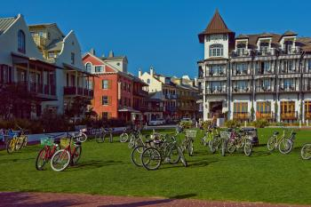 Bicycle Lot on Green Field