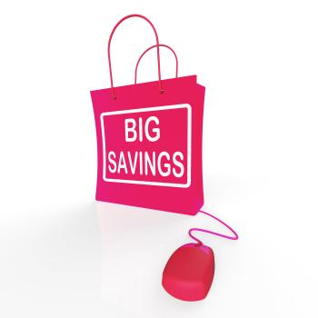 Big Savings Bag Shows Online Sales and Discounts