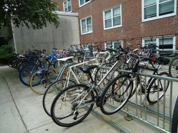 Bikes in a bike rack