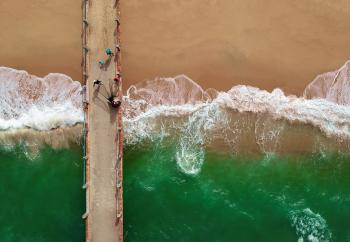 Bird's Eye View of People On Boardwalk