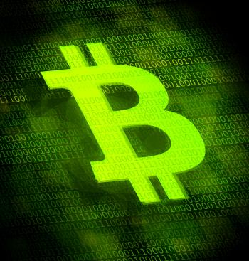 Bitcoin logo on digital screen
