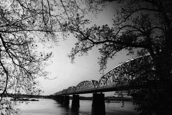 Black and Gray Scale Photo of Bridge
