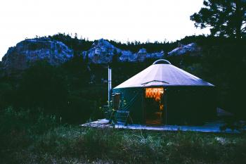 Black And Grey Canopy Tent Near Rocky Mountains