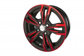 Black and Red Tire Rim