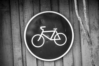 Black and White Bicycle Road Sign