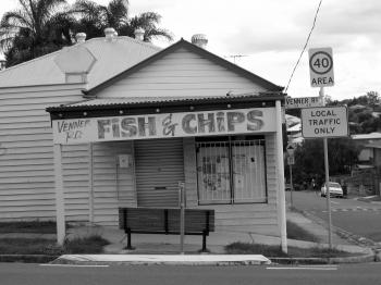 Black and White Photo on Fish & Chips Store Signage