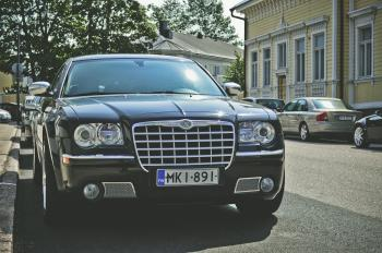 Black Chrysler 300c Parked on Road