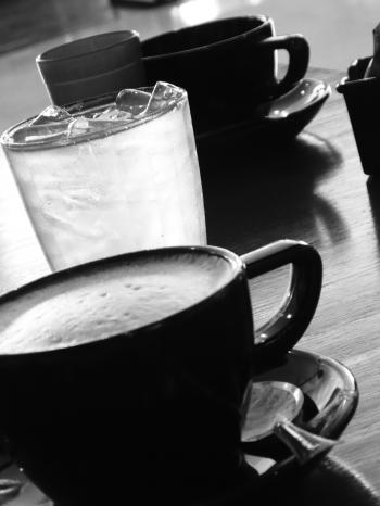 Black Coffee Cups b&w image
