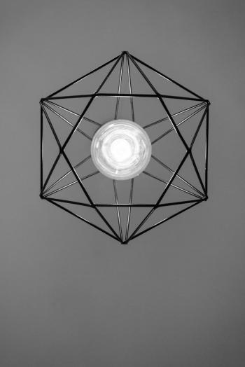 Black Metal Framed Pendant Lamp Turned-on