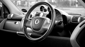 Black Smart Car Steering Wheel