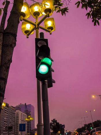 Black Traffic Light at Go Sign