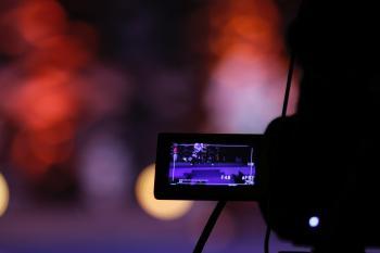 Black Video Camera Turned on
