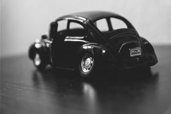Black Volkswagen Beetle Grayscale Photography